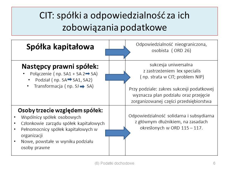 CIT: spółki a odpowiedzialność za ich zobowiązania podatkowe Spółka kapitałowa Odpowiedzialność nieograniczona, osobista ( ORD 26) Następcy prawni spó