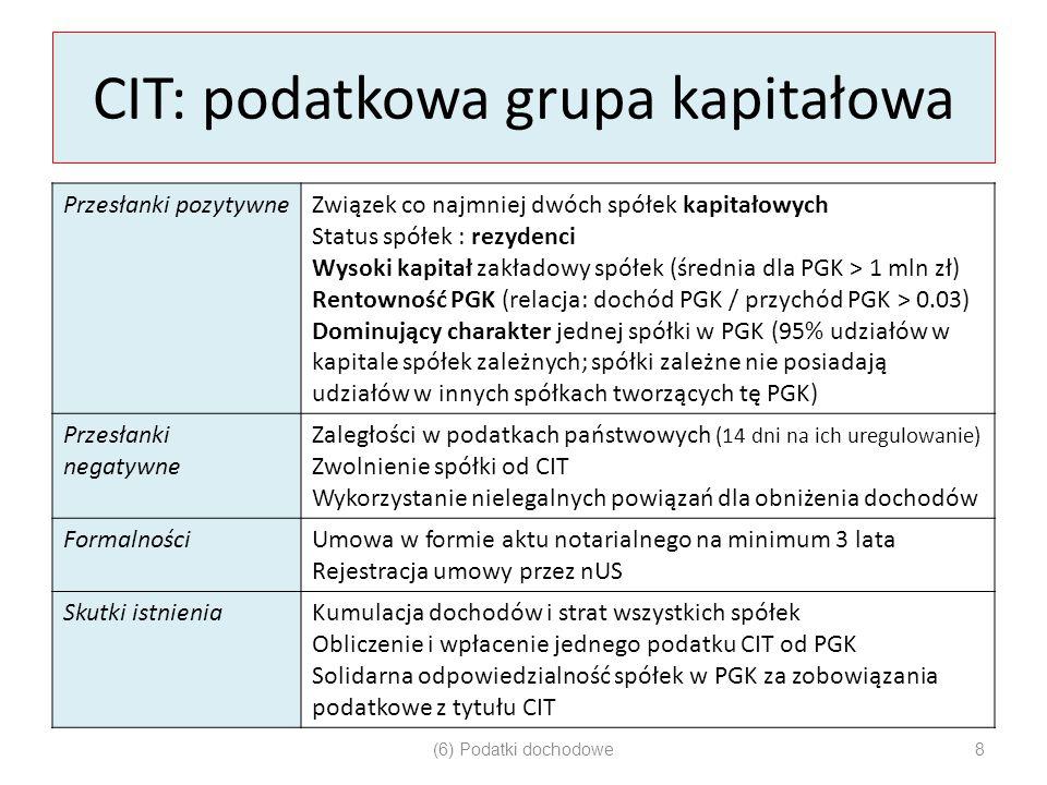 CIT: podatkowa grupa kapitałowa Przesłanki pozytywneZwiązek co najmniej dwóch spółek kapitałowych Status spółek : rezydenci Wysoki kapitał zakładowy s