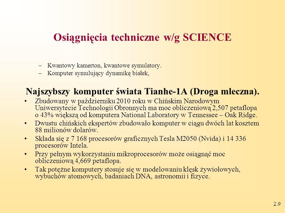 2.9 Osiągnięcia techniczne w/g SCIENCE –Kwantowy kamerton, kwantowe symulatory.
