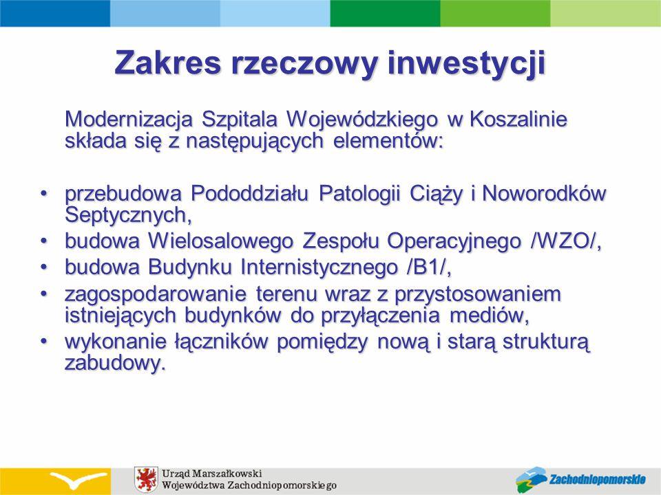 Zakres rzeczowy inwestycji Modernizacja Szpitala Wojewódzkiego w Koszalinie składa się z następujących elementów: przebudowa Pododdziału Patologii Cią