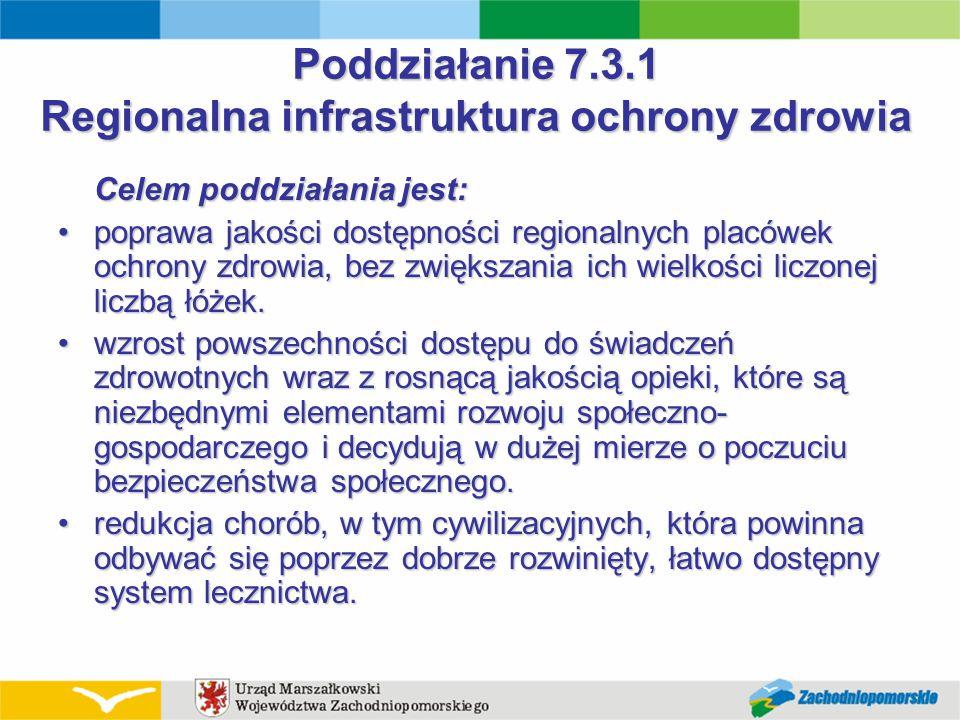 Poddziałanie 7.3.1 Regionalna infrastruktura ochrony zdrowia Celem poddziałania jest: poprawa jakości dostępności regionalnych placówek ochrony zdrowi