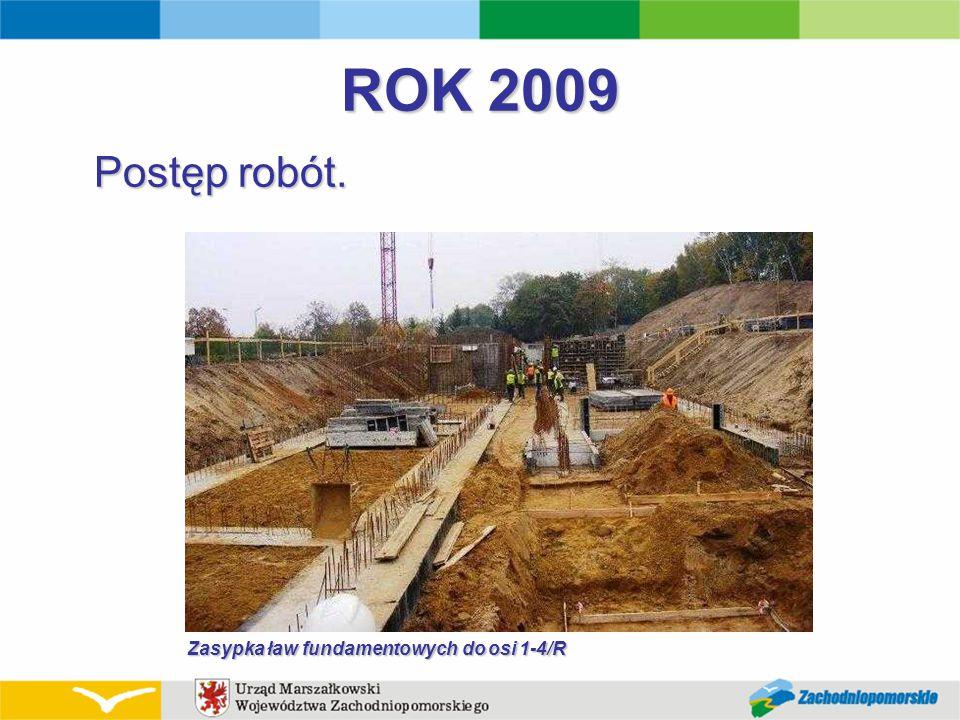 ROK 2009 Postęp robót. Zasypka ław fundamentowych do osi 1-4/R