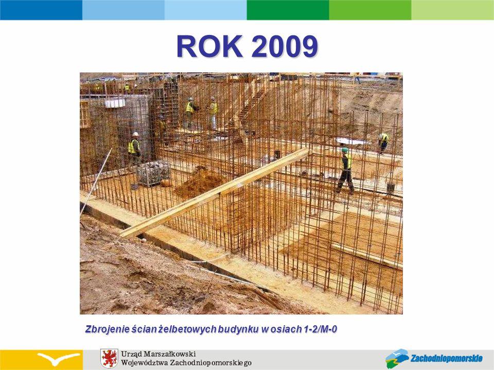 ROK 2009 Zbrojenie ścian żelbetowych budynku w osiach 1-2/M-0