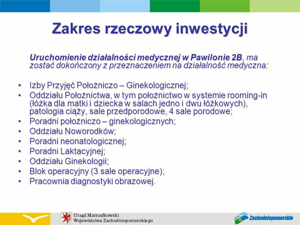 Zakres rzeczowy inwestycji Uruchomienie działalności medycznej w Pawilonie 2B, ma zostać dokończony z przeznaczeniem na działalność medyczna: Izby Prz