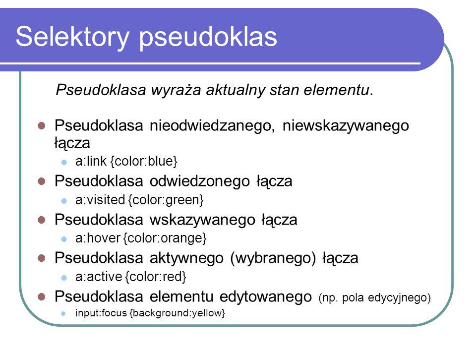 Selektory pseudoklas Pseudoklasa nieodwiedzanego, niewskazywanego łącza a:link {color:blue} Pseudoklasa odwiedzonego łącza a:visited {color:green} Pse