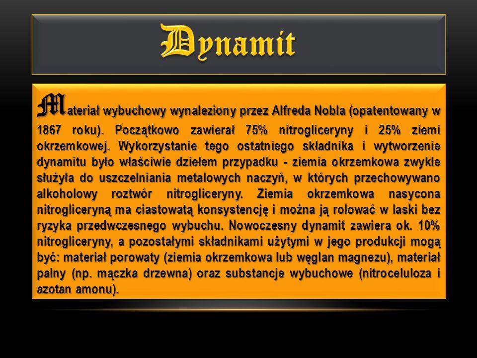 A.Materiał porowaty, nitrogliceryna, materiał palny, nitroceluloza i azotan amonu B.
