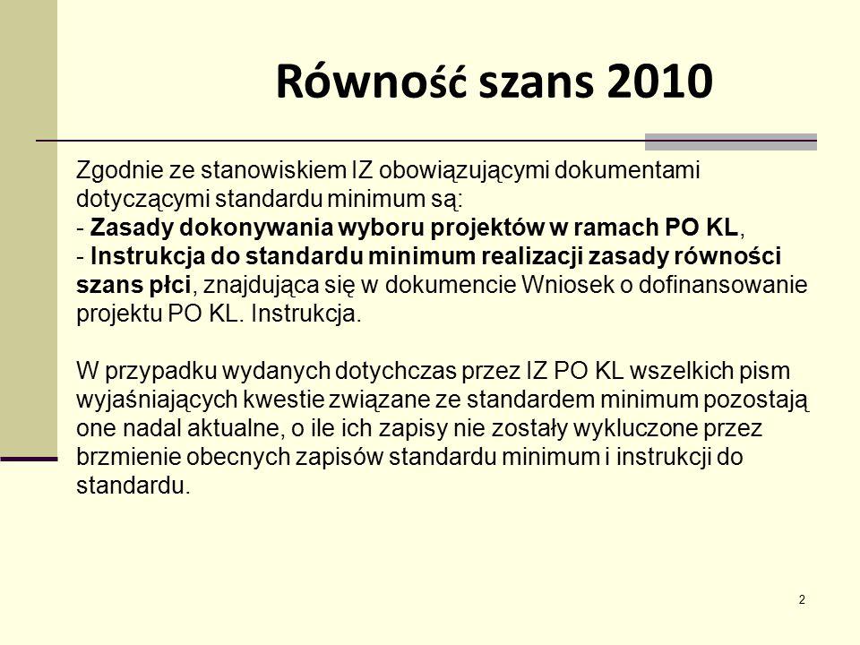 2 Zgodnie ze stanowiskiem IZ obowiązującymi dokumentami dotyczącymi standardu minimum są: - Zasady dokonywania wyboru projektów w ramach PO KL, - Inst