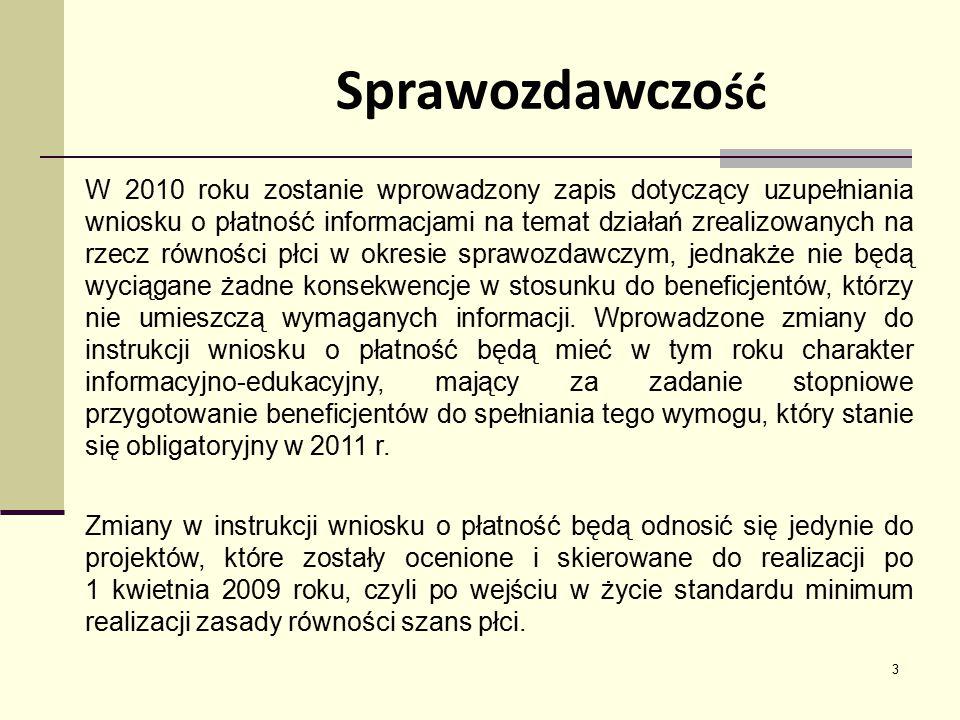 3 W 2010 roku zostanie wprowadzony zapis dotyczący uzupełniania wniosku o płatność informacjami na temat działań zrealizowanych na rzecz równości płci