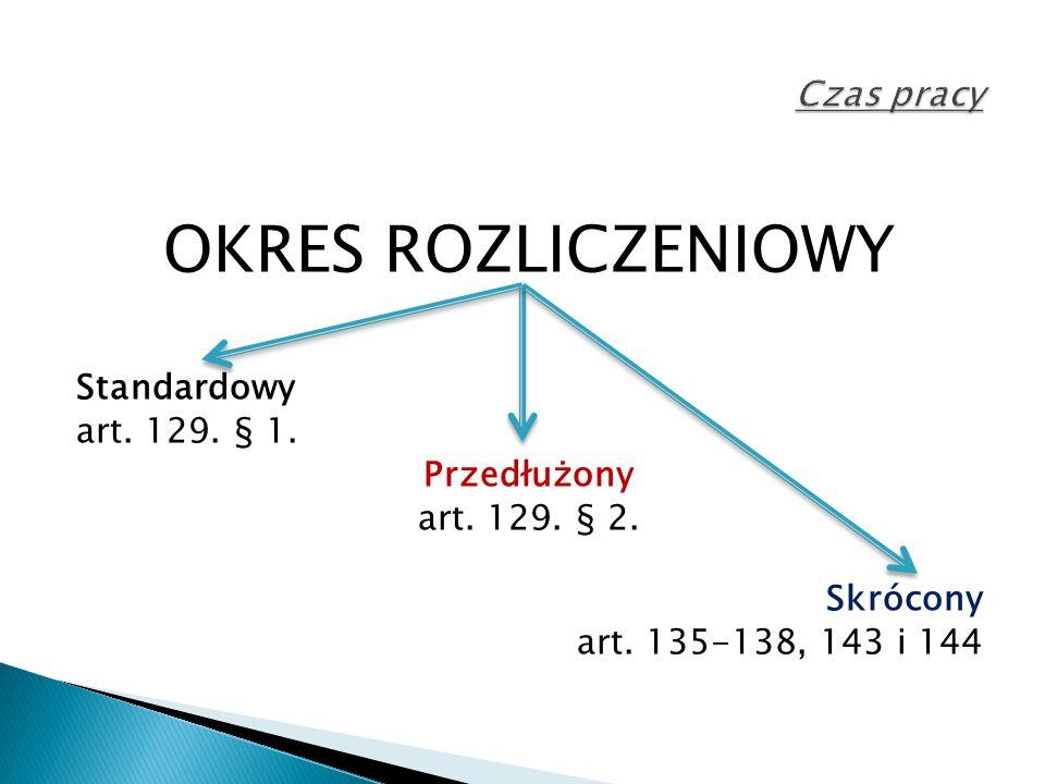 OKRES ROZLICZENIOWY Standardowy art. 129. § 1. Przedłużony art. 129. § 2. Skrócony art. 135-138, 143 i 144