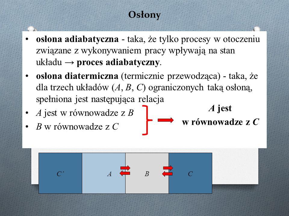 Osłony osłona adiabatyczna - taka, że tylko procesy w otoczeniu związane z wykonywaniem pracy wpływają na stan układu → proces adiabatyczny. osłona di