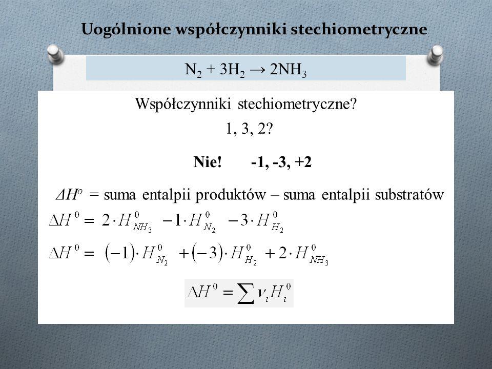 Uogólnione współczynniki stechiometryczne N 2 + 3H 2 → 2NH 3 ΔH o = suma entalpii produktów – suma entalpii substratów Współczynniki stechiometryczne?