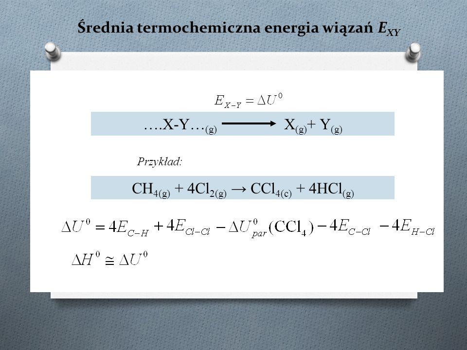 Średnia termochemiczna energia wiązań E XY ….X-Y… (g) X (g) + Y (g) CH 4(g) + 4Cl 2(g) → CCl 4(c) + 4HCl (g) Przykład: