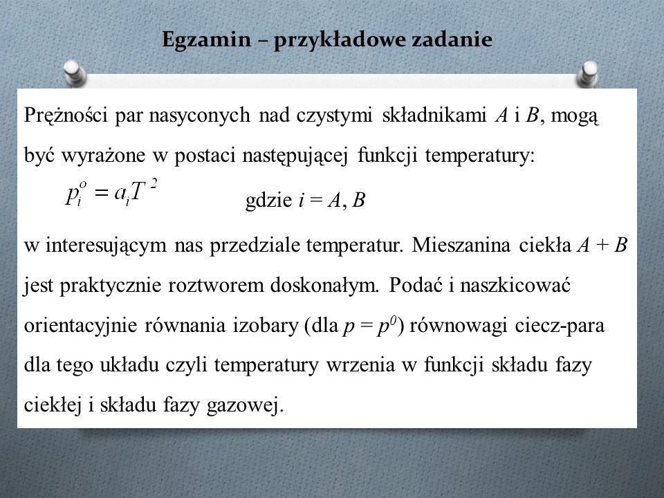 Egzamin – przykładowe zadanie Prężności par nasyconych nad czystymi składnikami A i B, mogą być wyrażone w postaci następującej funkcji temperatury: g