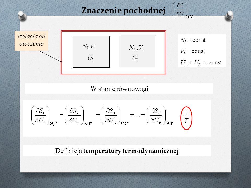 Znaczenie pochodnej N 1,V 1 N 2,V 2 N i = const V i = const U 1 + U 2 = const W stanie równowagi U1U1 U2U2 izolacja od otoczenia Definicja temperatury termodynamicznej