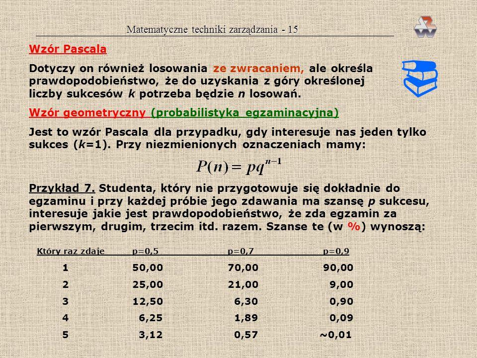 Matematyczne techniki zarządzania - 14 Wzór Poissona (zdarzeń rzadkich) Jest to szczególny przypadek wzoru dwumianowego, polegający na tym, że n jest