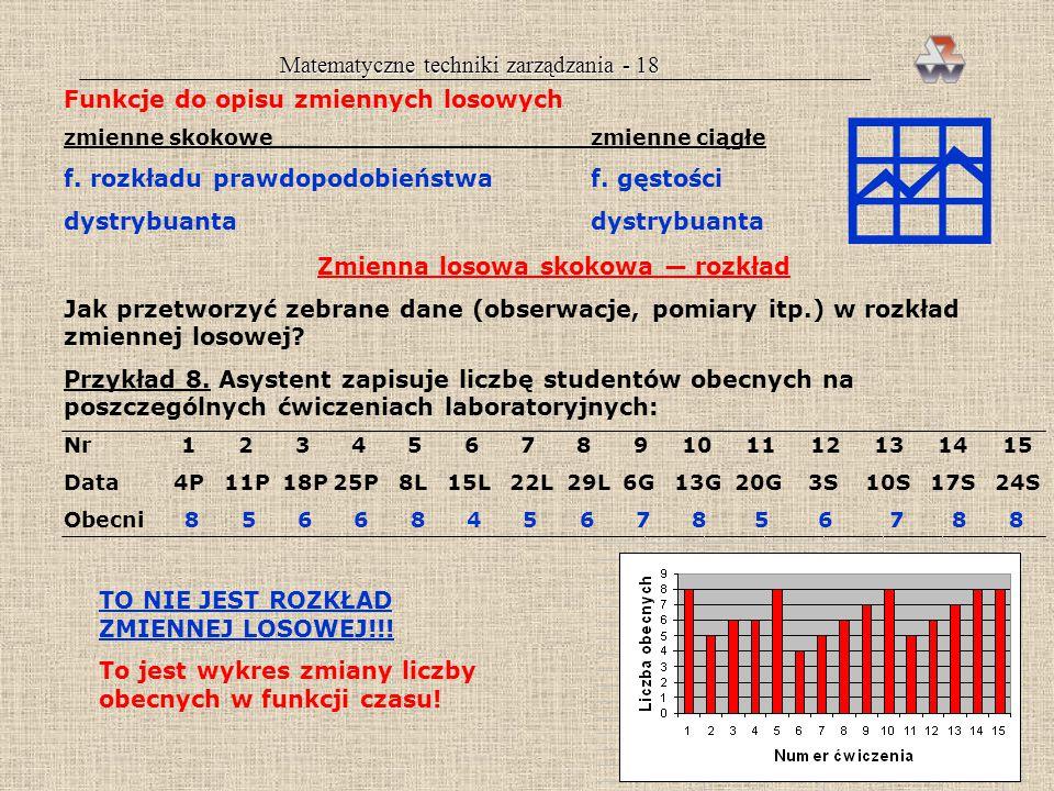 Matematyczne techniki zarządzania - 17 ZMIENNE LOSOWE Definicja zmiennej losowej Symbol: X Realizacje (wartości): x 1, x 2,...x i.,x n Zmienna losowa