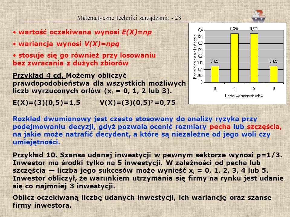 Matematyczne techniki zarządzania - 27 x 1 + x 2 + x 3 + x 4 + x 5 + x 6 m= x i /6 można można można można można nie można nie można zmieniać zmienia
