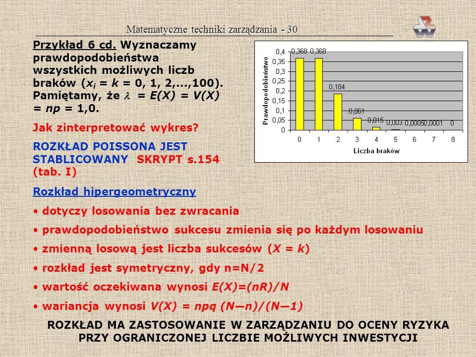 Matematyczne techniki zarządzania - 29 E(X)=(5)(1/3)=1,67 V(X)=(5)(1/3)(2/3)=1,11 P(X>2)=0,165+0,041+0,004= =0,21 = 21% Tablice Nomogramy Programy kom