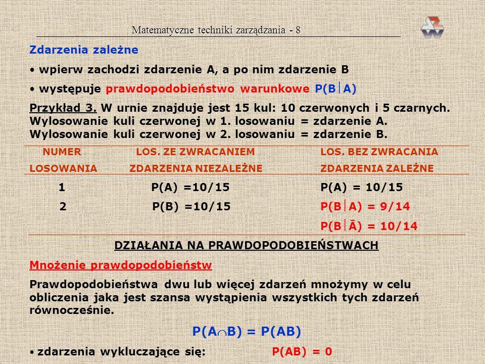 Matematyczne techniki zarządzania - 8 Zdarzenia zależne wpierw zachodzi zdarzenie A, a po nim zdarzenie B występuje prawdopodobieństwo warunkowe P(BA) Przykład 3.