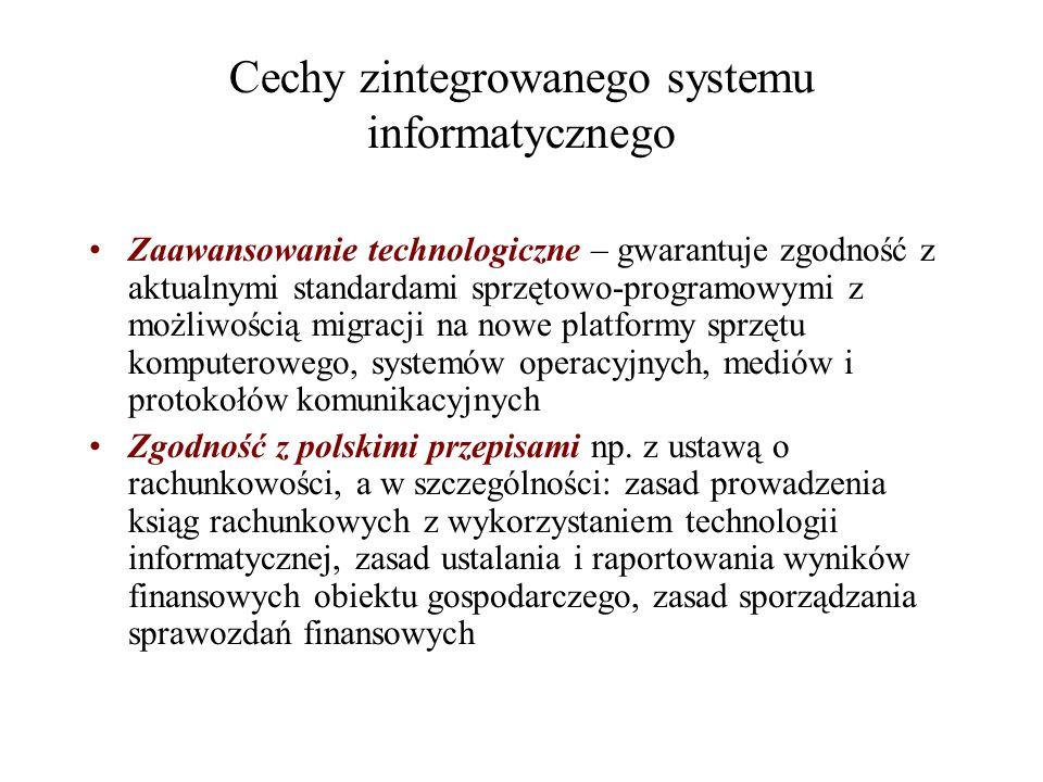 Cechy zintegrowanego systemu informatycznego Zaawansowanie technologiczne – gwarantuje zgodność z aktualnymi standardami sprzętowo-programowymi z możl