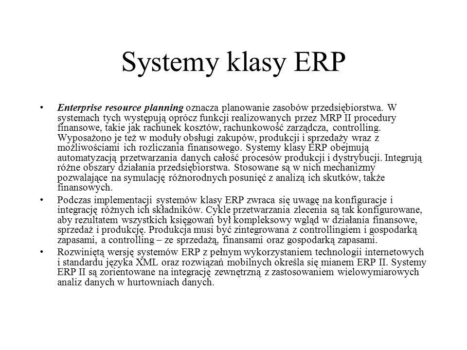 Systemy klasy ERP Enterprise resource planning oznacza planowanie zasobów przedsiębiorstwa. W systemach tych występują oprócz funkcji realizowanych pr
