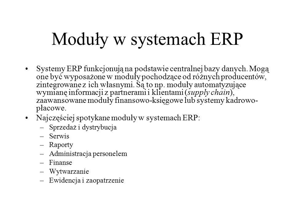 Moduły w systemach ERP Systemy ERP funkcjonują na podstawie centralnej bazy danych. Mogą one być wyposażone w moduły pochodzące od różnych producentów