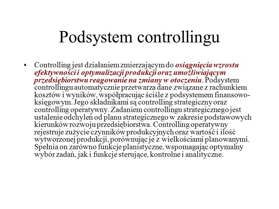 Podsystem controllingu Controlling jest działaniem zmierzającym do osiągnięcia wzrostu efektywności i optymalizacji produkcji oraz umożliwiającym prze