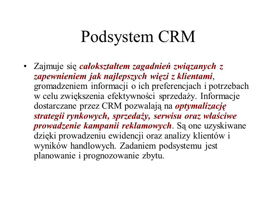 Podsystem CRM Zajmuje się całokształtem zagadnień związanych z zapewnieniem jak najlepszych więzi z klientami, gromadzeniem informacji o ich preferenc