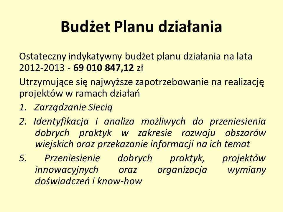 Budżet Planu działania Ostateczny indykatywny budżet planu działania na lata 2012-2013 - 69 010 847,12 zł Utrzymujące się najwyższe zapotrzebowanie na realizację projektów w ramach działań 1.