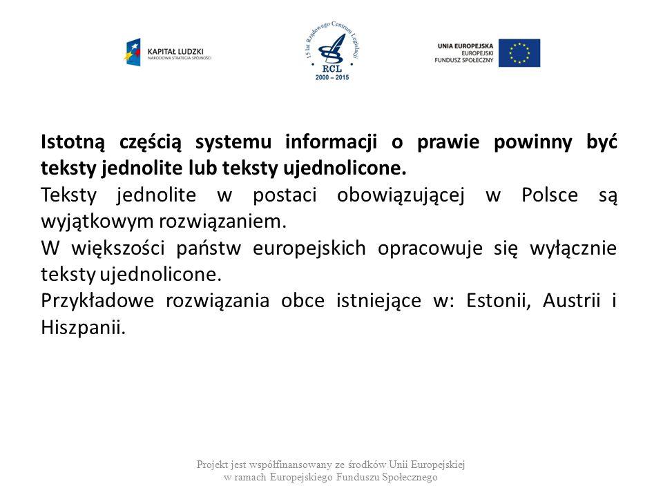 Projekt jest współfinansowany ze środków Unii Europejskiej w ramach Europejskiego Funduszu Społecznego Teksty jednolite a teksty ujednolicone.