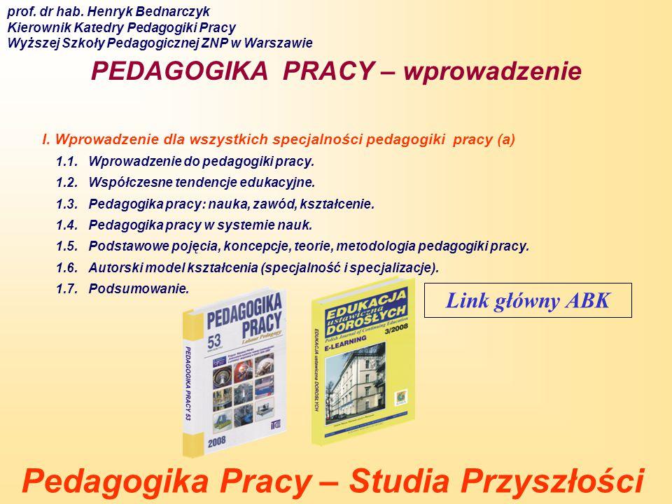 1.41 Pedagogika pracy jako subdyscyplina pedagogiczna Człowiek w środowisku pracy Kształcenie przedzawodowe Edukacja prozawodowa Edukacja zawodowa Edukacja dorosłych Problemy rynku pracy