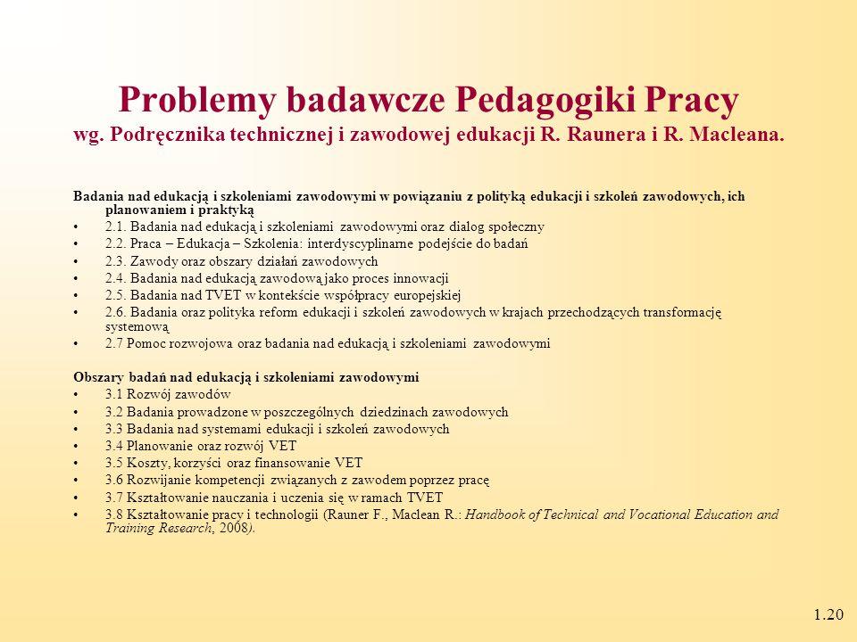 1.19 Problemy badawcze Pedagogiki Pracy teoretyczno-metodyczne podstawy budowy otwartego, elastycznego, wielopoziomowego systemu ustawicznej edukacji