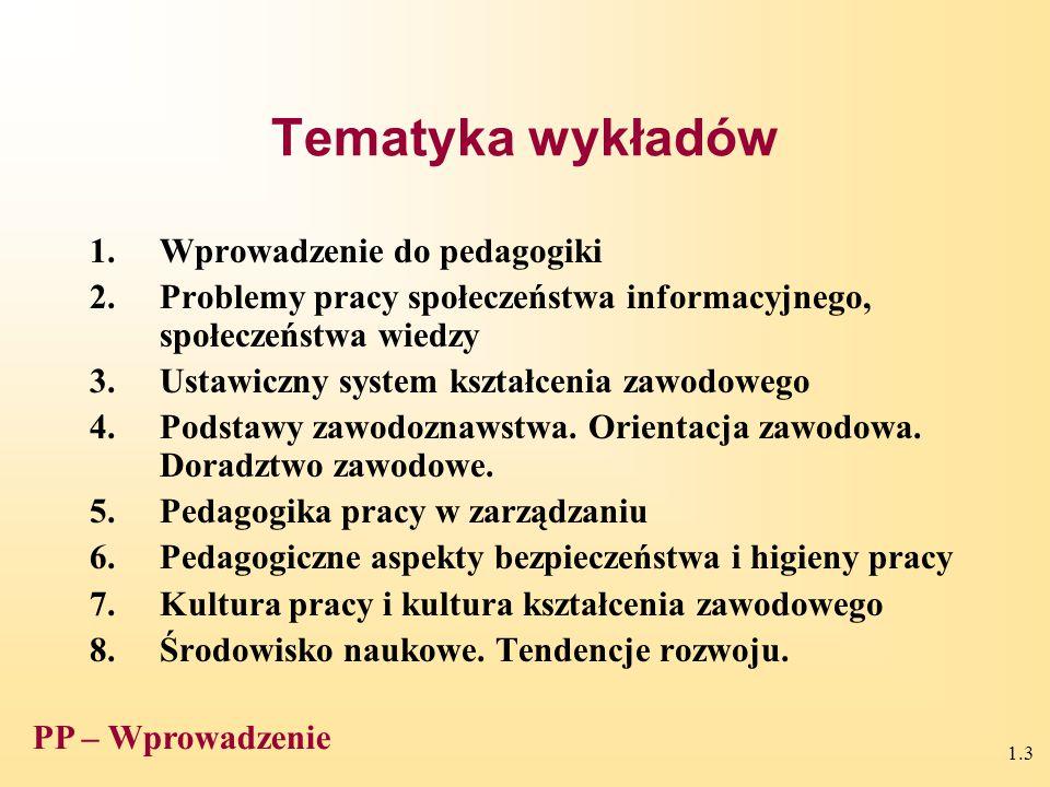 1.3 Tematyka wykładów 1.Wprowadzenie do pedagogiki 2.Problemy pracy społeczeństwa informacyjnego, społeczeństwa wiedzy 3.Ustawiczny system kształcenia zawodowego 4.Podstawy zawodoznawstwa.