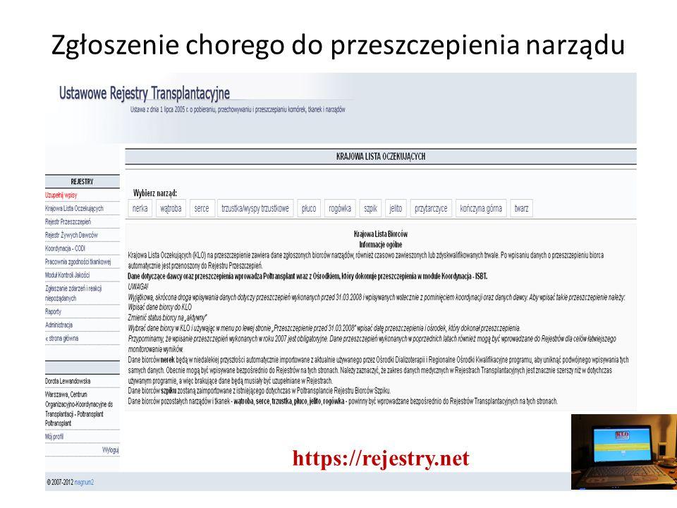 Zgłoszenie chorego do przeszczepienia narządu https://rejestry.net