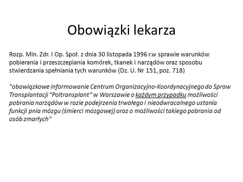 Obowiązki lekarza Rozp.Min. Zdr. I Op. Społ.