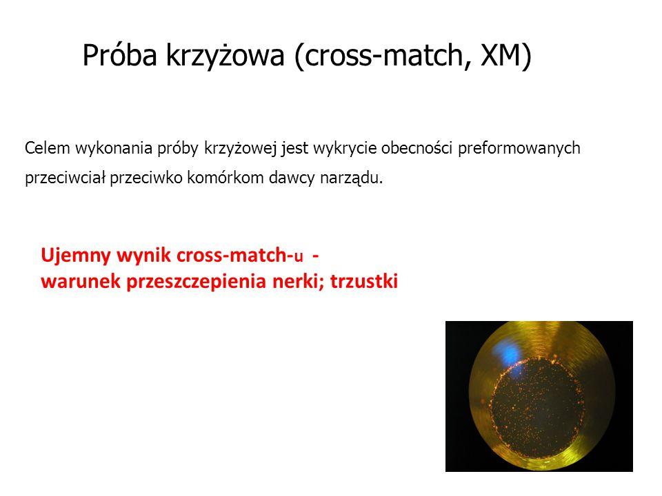 Próba krzyżowa (cross-match, XM) Celem wykonania próby krzyżowej jest wykrycie obecności preformowanych przeciwciał przeciwko komórkom dawcy narządu.
