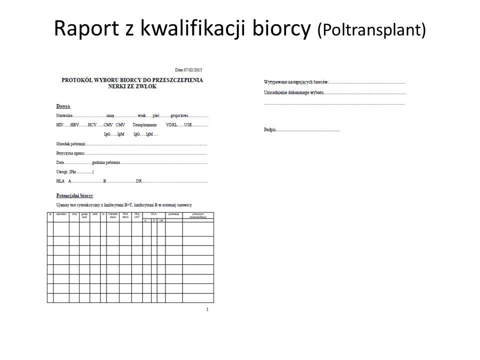 Raport z kwalifikacji biorcy (Poltransplant) 1
