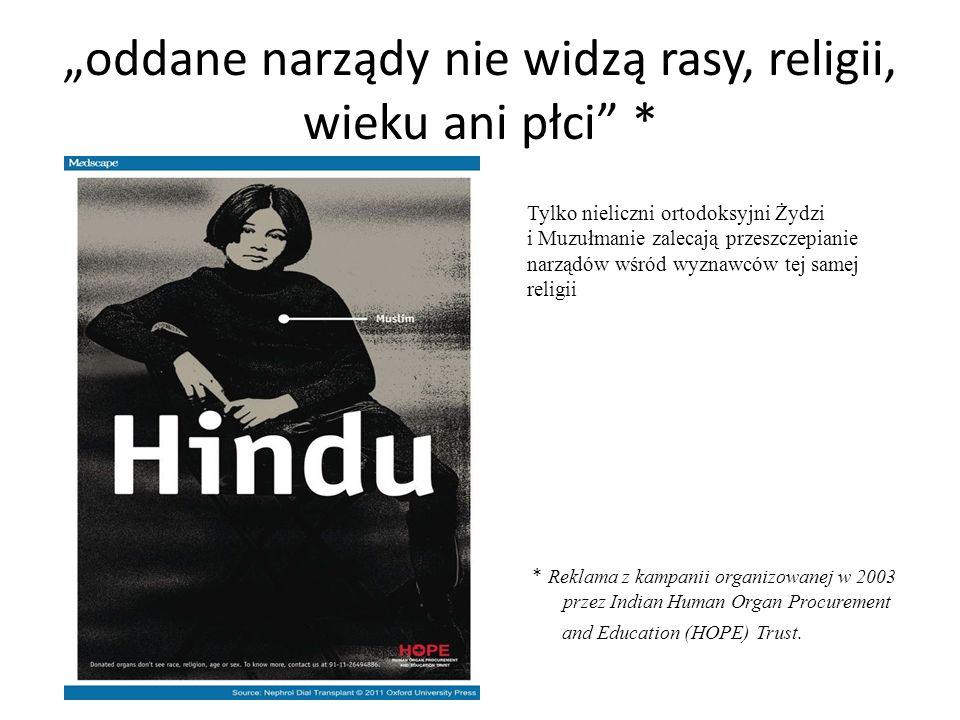 """""""oddane narządy nie widzą rasy, religii, wieku ani płci * * Reklama z kampanii organizowanej w 2003 przez Indian Human Organ Procurement and Education (HOPE) Trust."""