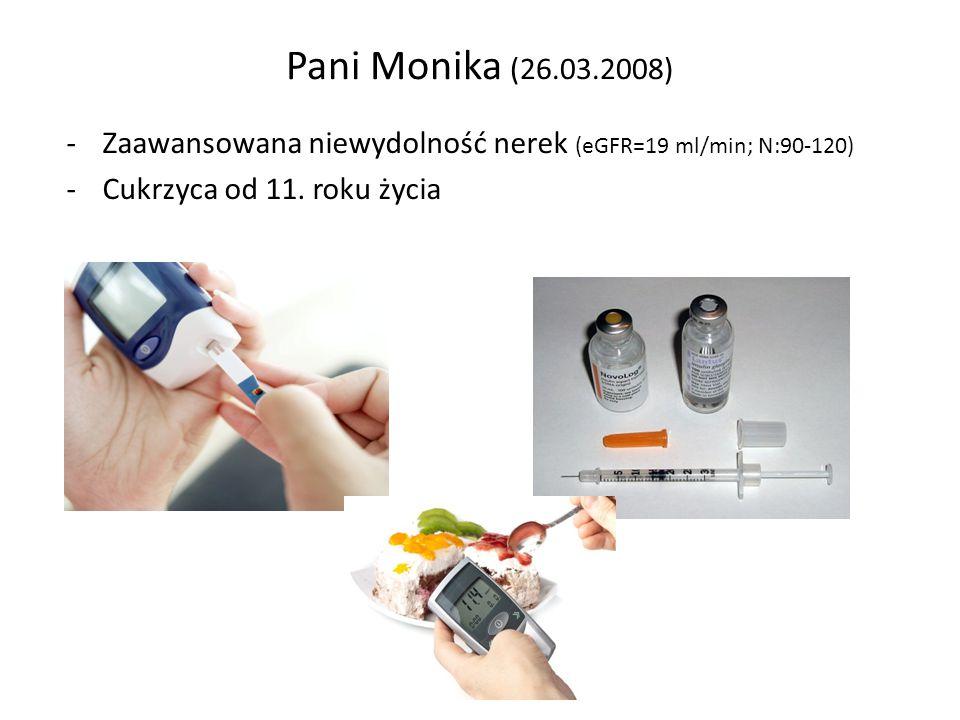 Pacjent z zaawansowaną chorobą nerek -Nadciśnienie tętnicze od 8 lat -Anemia -Problemy ze wzrokiem (retinopatia cukrzycowa) -Drętwienie rąk i nóg (neuropatia cukrzycowa) Zastrzyki co 2 tygodnie Przyjmowanie 8 różnych leków 2 x dz
