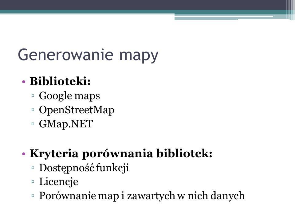 Generowanie mapy Biblioteki: ▫Google maps ▫OpenStreetMap ▫GMap.NET Kryteria porównania bibliotek: ▫Dostępność funkcji ▫Licencje ▫Porównanie map i zawa