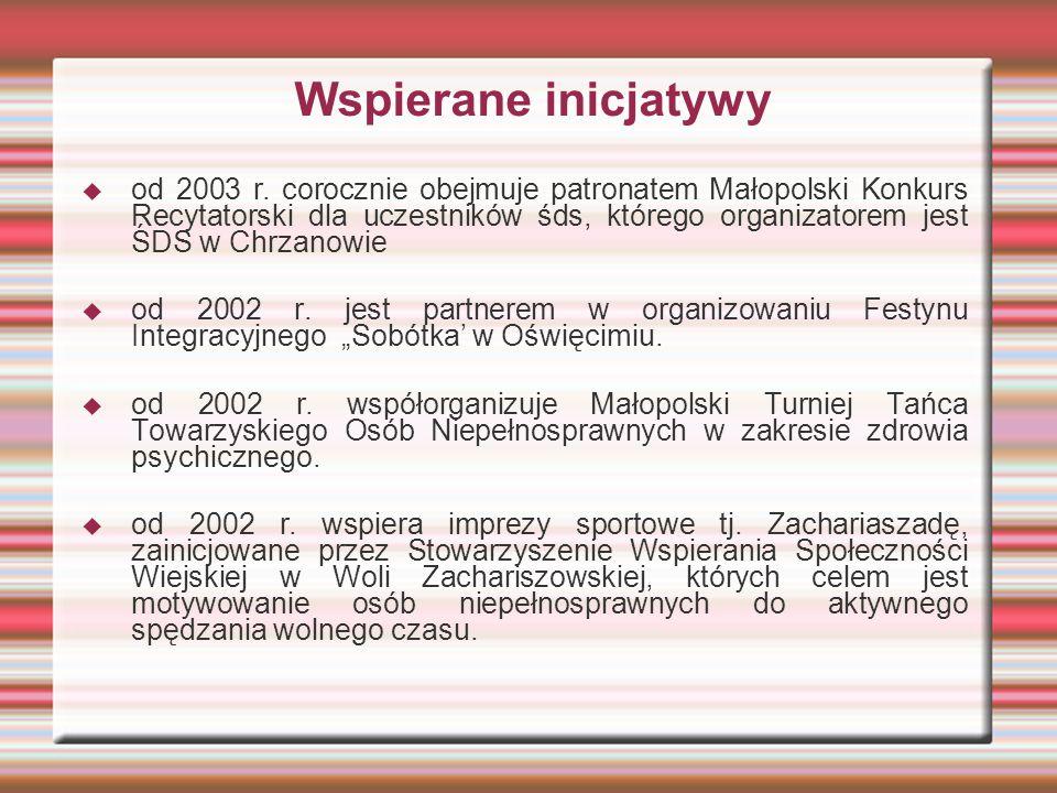 Wspierane inicjatywy  od 2003 r. corocznie obejmuje patronatem Małopolski Konkurs Recytatorski dla uczestników śds, którego organizatorem jest ŚDS w