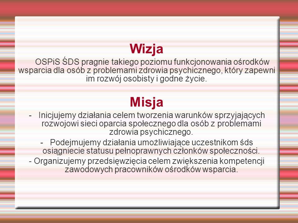Wizja OSPiS ŚDS pragnie takiego poziomu funkcjonowania ośrodków wsparcia dla osób z problemami zdrowia psychicznego, który zapewni im rozwój osobisty i godne życie.