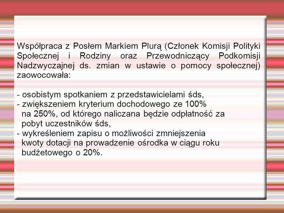 Współpraca z Posłem Markiem Plurą (Członek Komisji Polityki Społecznej i Rodziny oraz Przewodniczący Podkomisji Nadzwyczajnej ds.