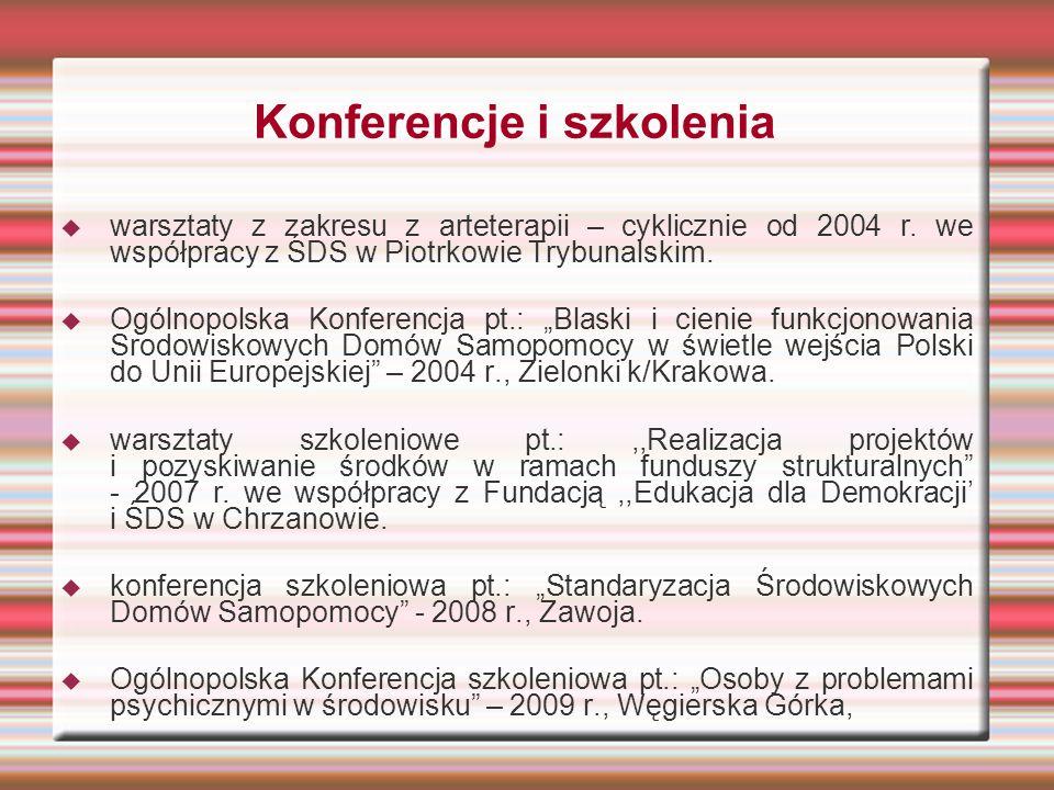 Konferencje i szkolenia  warsztaty z zakresu z arteterapii – cyklicznie od 2004 r. we współpracy z ŚDS w Piotrkowie Trybunalskim.  Ogólnopolska Konf