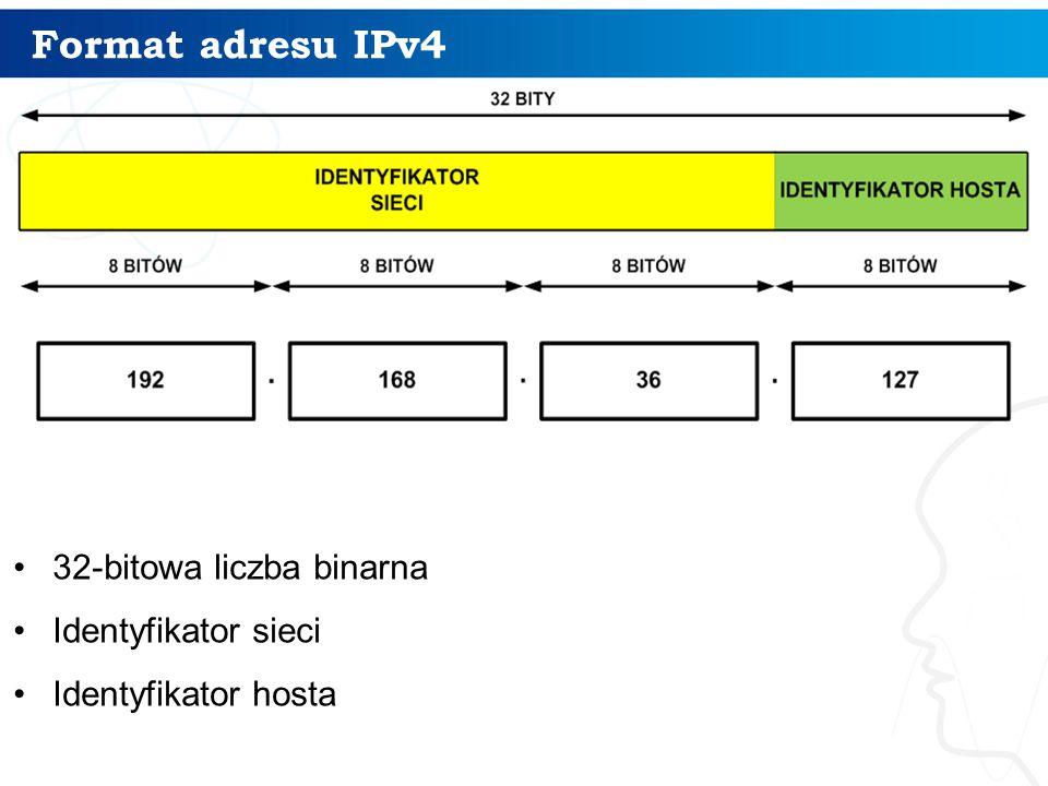Format adresu IPv4 32-bitowa liczba binarna Identyfikator sieci Identyfikator hosta