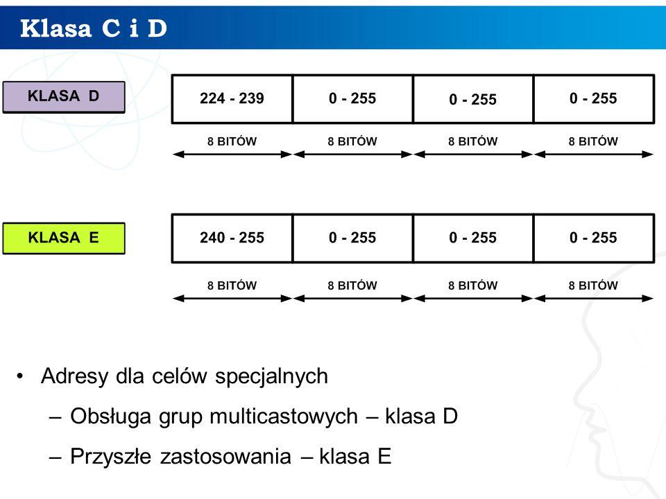Klasa C i D Adresy dla celów specjalnych –Obsługa grup multicastowych – klasa D –Przyszłe zastosowania – klasa E