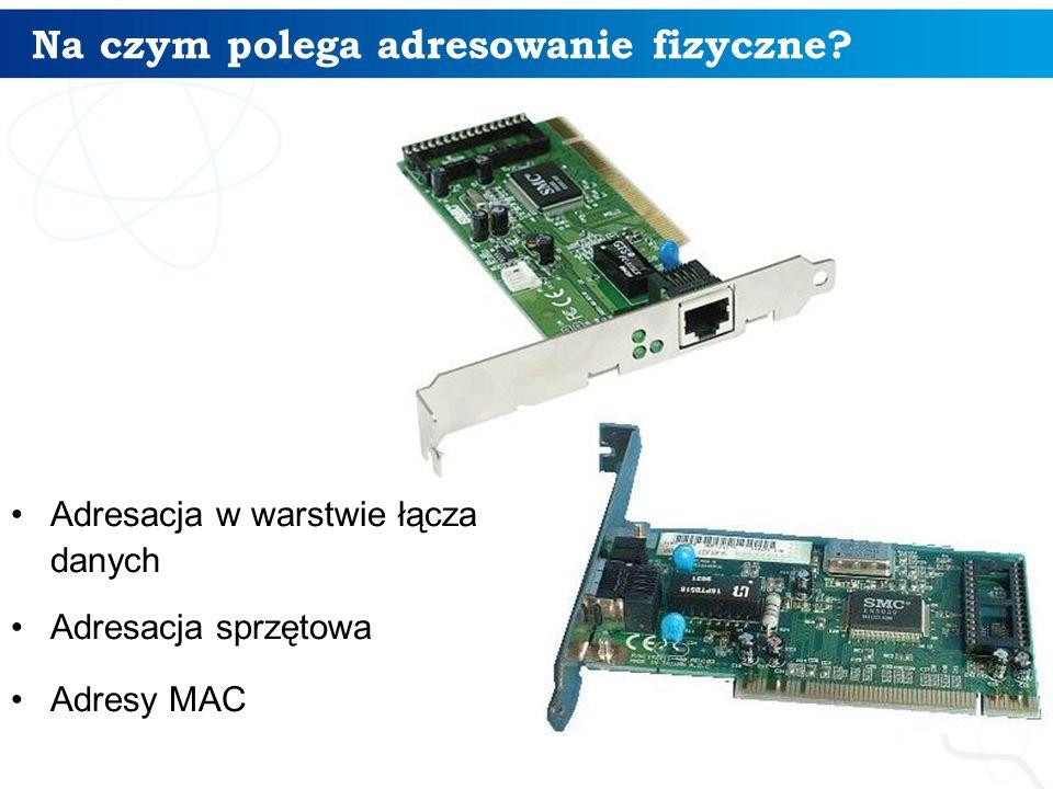 Na czym polega adresowanie fizyczne? Adresacja w warstwie łącza danych Adresacja sprzętowa Adresy MAC