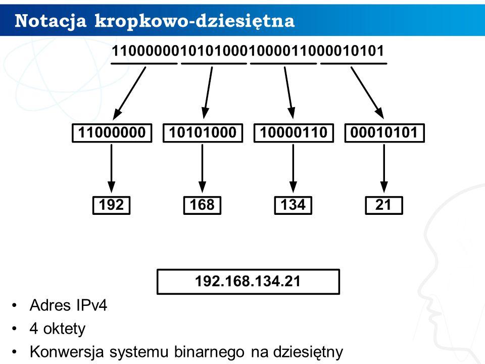 Notacja kropkowo-dziesiętna Adres IPv4 4 oktety Konwersja systemu binarnego na dziesiętny