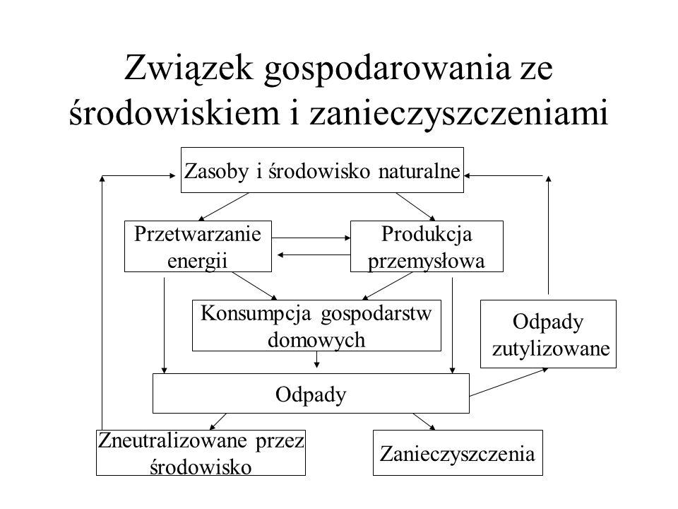 Związek gospodarowania ze środowiskiem i zanieczyszczeniami Zasoby i środowisko naturalne Przetwarzanie energii Produkcja przemysłowa Konsumpcja gospodarstw domowych Odpady Zneutralizowane przez środowisko Zanieczyszczenia Odpady zutylizowane