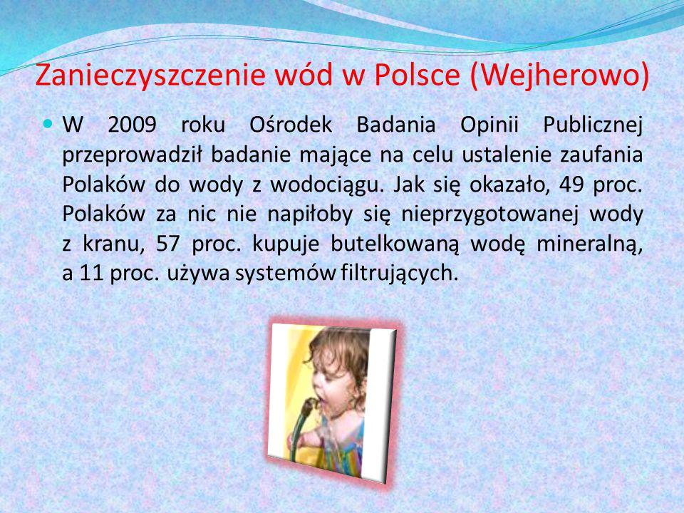 Zanieczyszczenie wód w Polsce (Wejherowo) W 2009 roku Ośrodek Badania Opinii Publicznej przeprowadził badanie mające na celu ustalenie zaufania Polaków do wody z wodociągu.